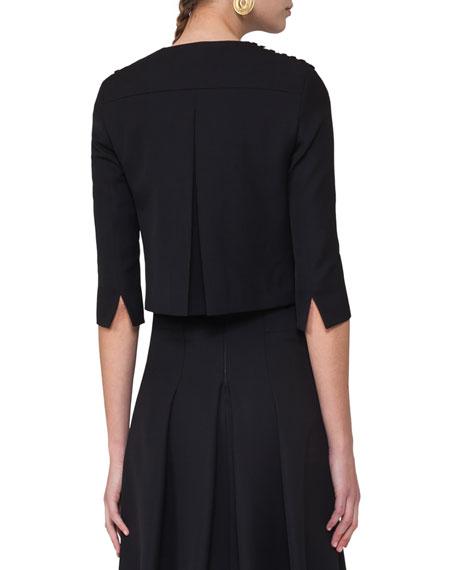 Dot-Embroidered Zip-Front Jacket, Black