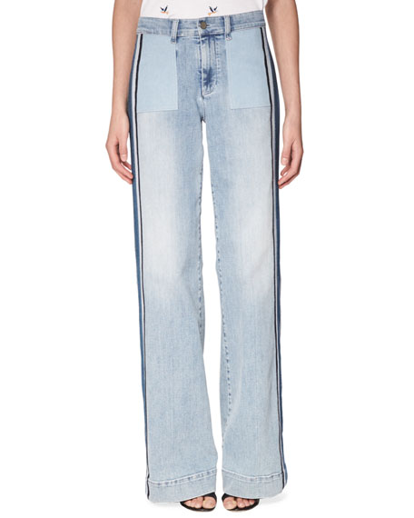 Victoria, Victoria Beckham Woman Faded Straight-leg Jeans Mid Denim Size 24 Victoria Beckham