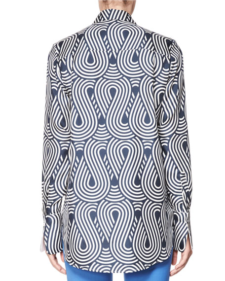 Looped Wave Silk Shirt, Blue/White