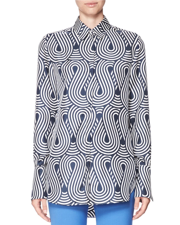 385a812e9b9f2 Victoria Victoria Beckham Looped Wave Silk Shirt