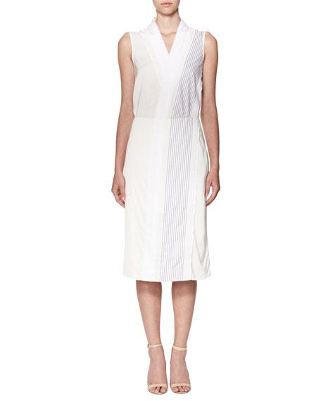 Mock-Wrap Midi Skirt with Stripes, White/Navy