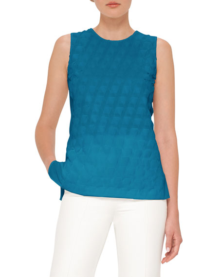 Akris Trapezoid Crepe Sleeveless Blouse, Whirl Away and