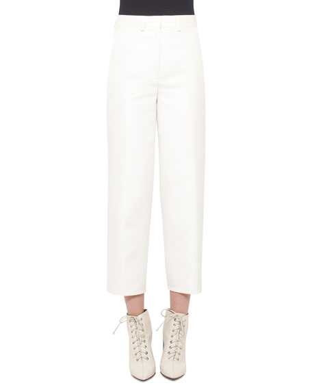 Akris Carlos Straight-Leg Cropped Pants, Moonstone