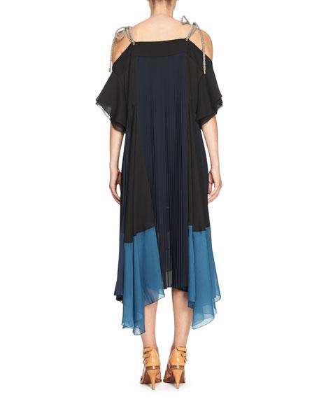 Rope-Strap Plissé Striped-Hem Gown, Dark Blue