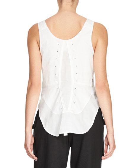 Sleeveless Corset-Detail Top, White