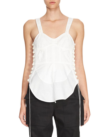 Sleeveless Corset-Detail Top, White