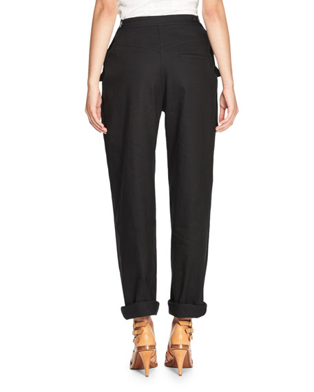 Patch-Pocket Straight-Leg Pants, Dark Blue