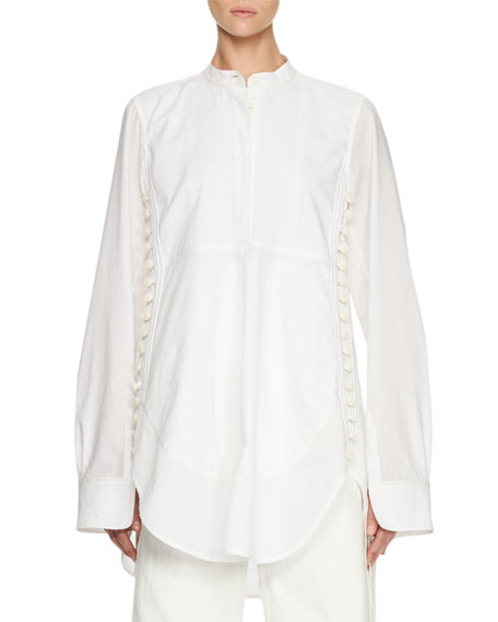 Chloe Side-Button Long-Sleeve Tunic, White
