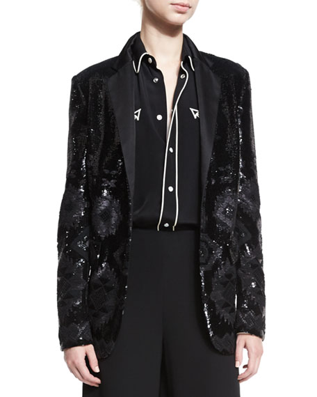 Ralph Lauren Collection Tess Geometric-Beaded Tuxedo Jacket,