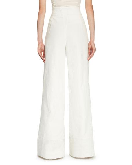 Sailor-Button High-Waist Jeans, White