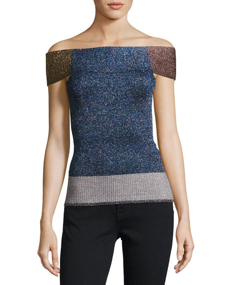 Metallic Knit Off-Shoulder Top, Multi