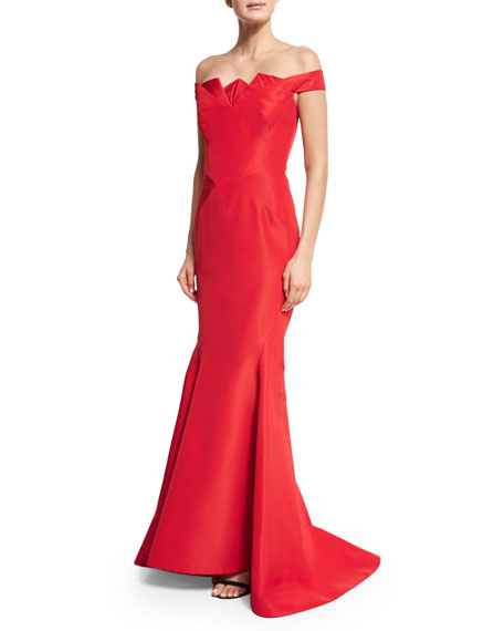Pleated Off-the-Shoulder Mermaid Gown, Dark Red
