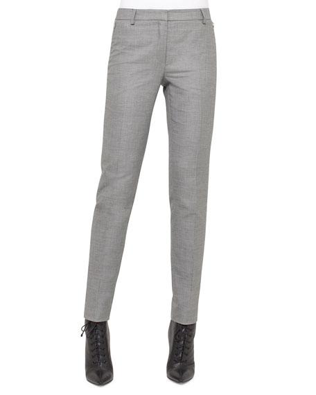 Akris Melvin Slim-Leg Pants, Silver Charm