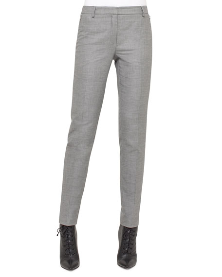 Akris Melvin Slim-Leg Pants, Silver Charm and Matching