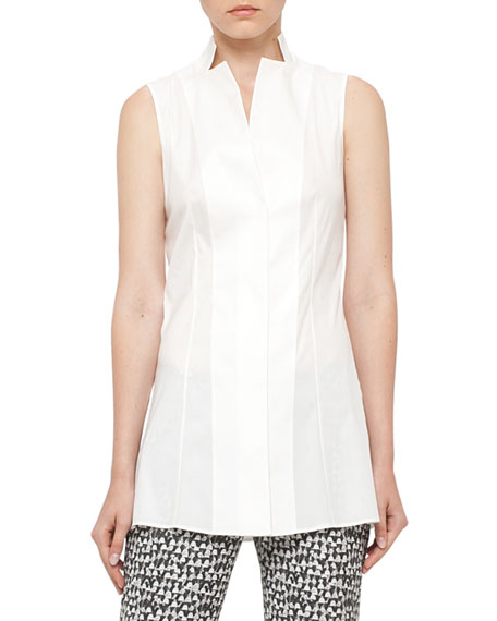 Sleeveless Tunic Blouse, Cremello