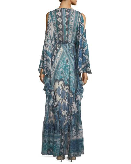Antique Floral-Print Silk Cold-Shoulder Gown