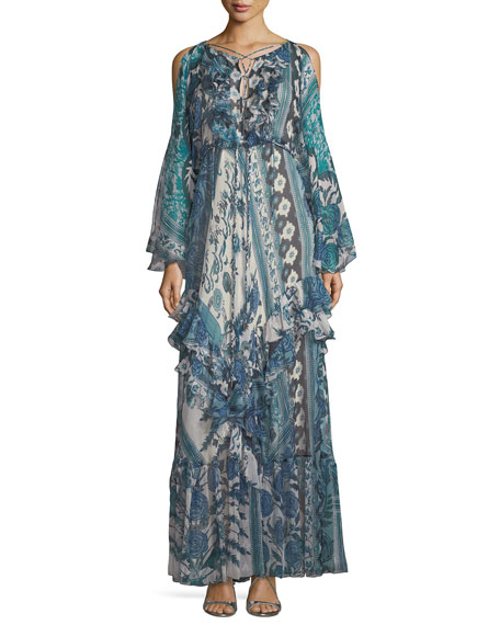 Roberto Cavalli Antique Floral-Print Silk Cold-Shoulder Gown