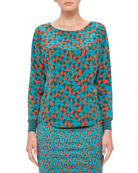 Akris Ai-Print Dolman-Sleeve Blouse, Teal/Multi