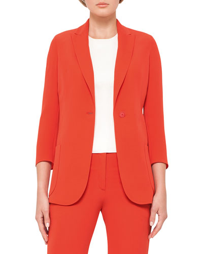 3/4-Sleeve One-Button Jacket, Rojo