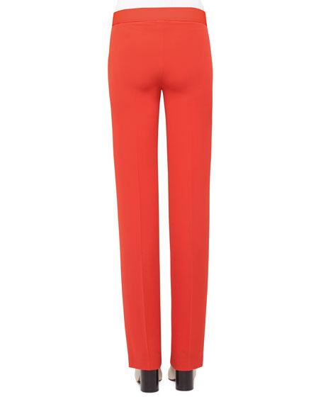 Carl Straight-Leg Silk Pants, Rojo