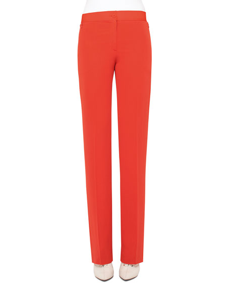 Akris Carl Straight-Leg Silk Pants, Rojo