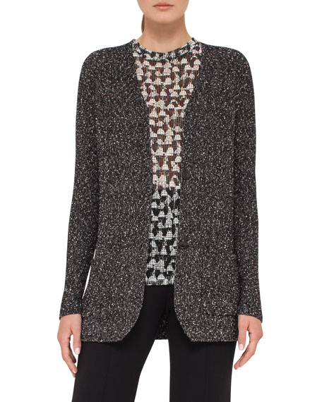 Tweed Two-Button Cardigan, Black/White