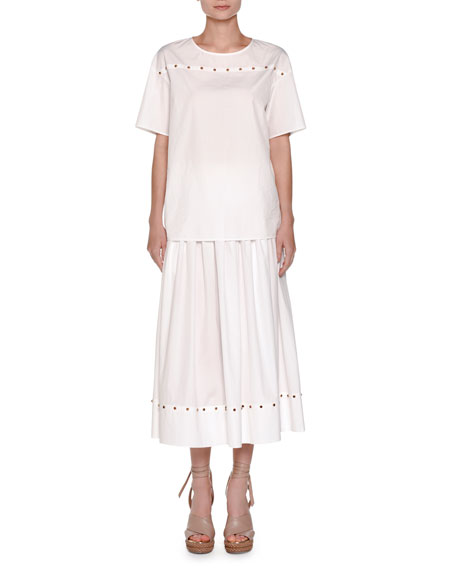 Cabochon-Stud A-Line Midi Skirt, White