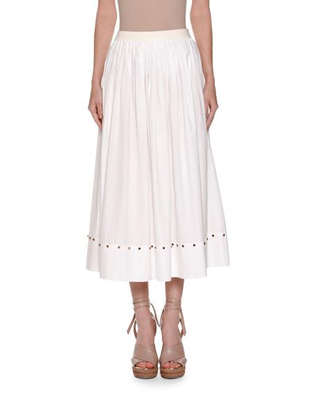 Agnona Cabochon-Stud A-Line Midi Skirt, White