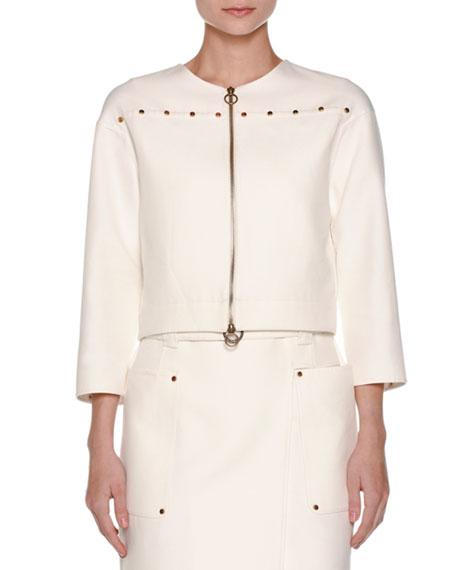 Agnona Cabochon-Trim Boxy Jacket, White