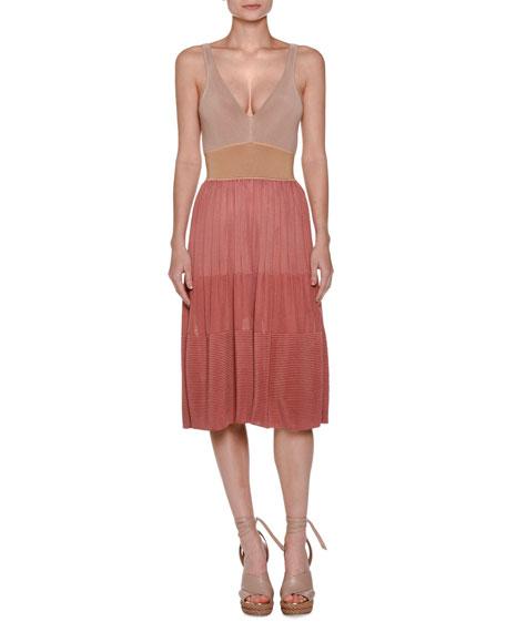 Agnona Colorblock V-Neck Pleated Midi Dress, Pink/Multi