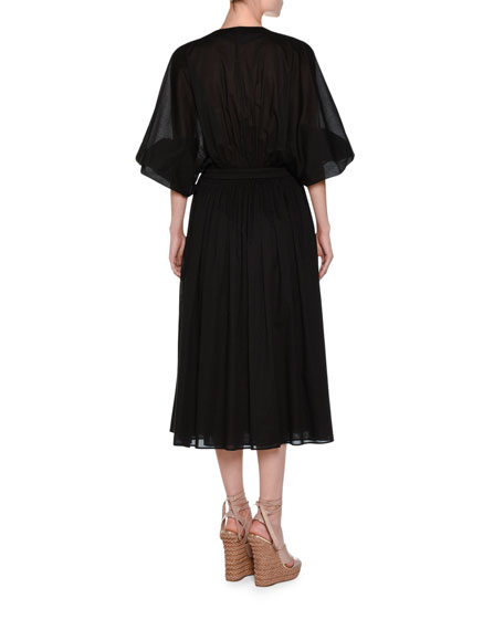 Full-Sleeve Drawstring Midi Dress, Black