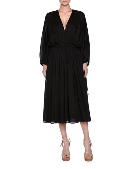 Agnona Full-Sleeve Drawstring Midi Dress, Black