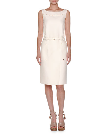 Agnona Cabochon-Trim Sleeveless Dress, White