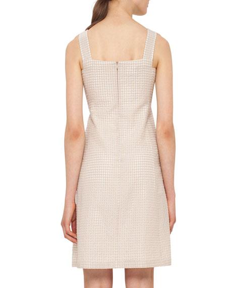 Sleeveless Check Sheath Dress, Nude
