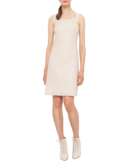 Akris Sleeveless Check Sheath Dress, Nude