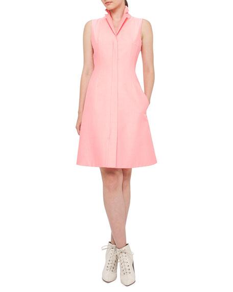 Sleeveless A-Line Zip Shirtdress