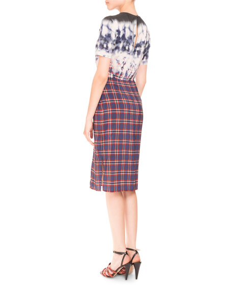 Short-Sleeve Bleached Plaid Dress, Royal Blue