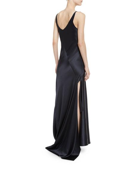 Sleeveless Bias-Cut Silk Gown, Dark Indigo