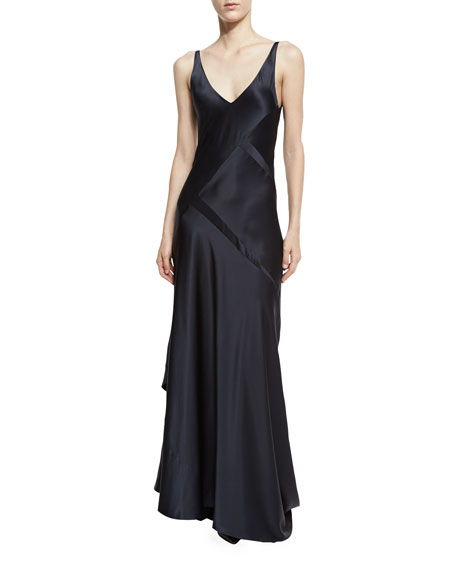 Narciso Rodriguez Sleeveless Bias-Cut Silk Gown, Dark Indigo