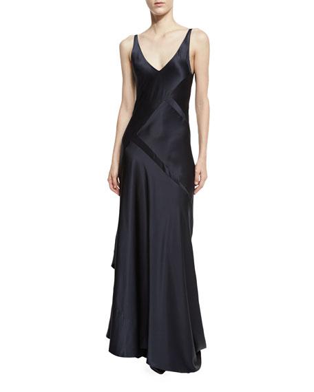 Narciso Rodriguez Sleeveless Bias-Cut Silk Gown, Dark Indigo