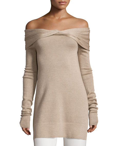 Derek Lam Twisted Off-Shoulder Long-Sleeve Tunic, Oatmeal Melange