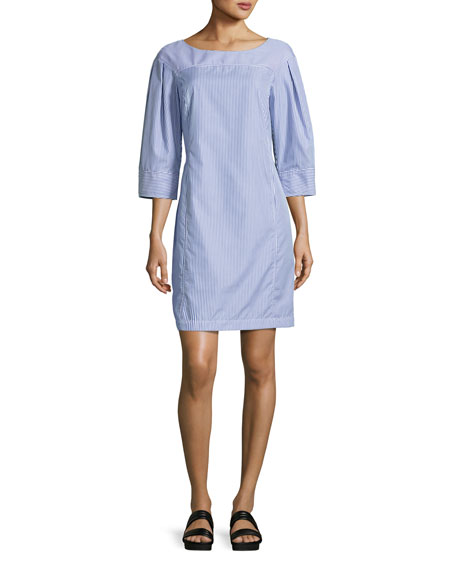 Derek Lam Pinstripe Boat-Neck Tunic Dress, Blue/White