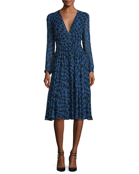 Long-Sleeve Python-Print Silk Dress, Blue Allium