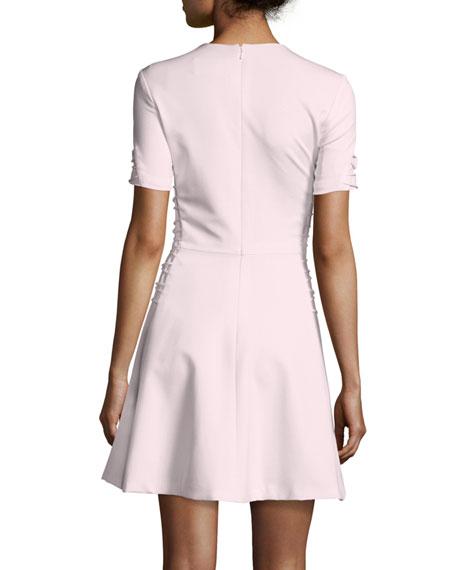 Short-Sleeve Cady Lace-Up Dress