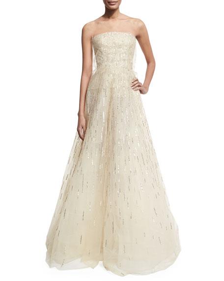 Oscar de la Renta Illusion Embellished Gown, Beige