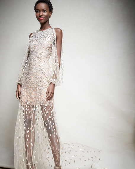 Sequined-Petal Illusion Tulle Gown, White/Gold
