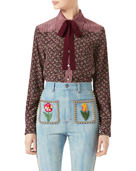 Gucci Autumn Flower Printed Silk Shirt, Maroon and
