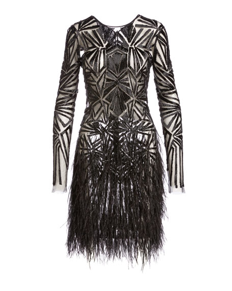 Beaded Long-Sleeve Feather-Skirt Dress, Black