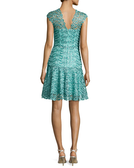 Sequined Guipure Lace Cocktail Dress