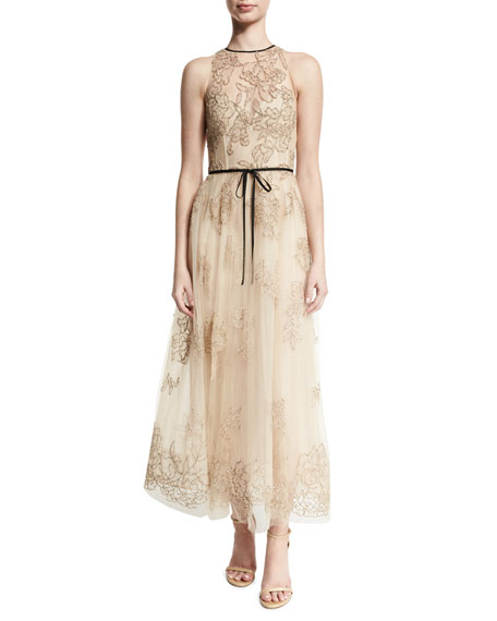 Belted Embroidered Midi Gown, Nude/Black